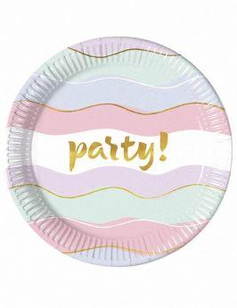 Elegant Party Paper Plates 23cm, pk8