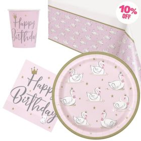 Swan Birthday Party Tableware Pack for 8