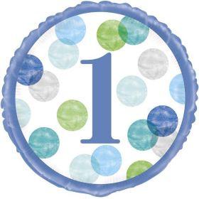 "Blue Dots 1st Birthday Foil Balloon 18"""