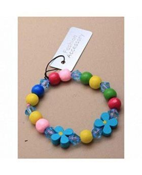 Bright Coloured Wooden Bead Stretch Bracelet