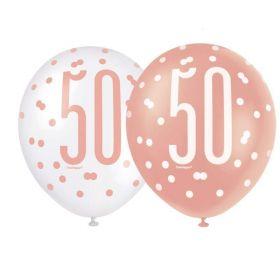 "Glitz Rose Gold Age 50 Latex Balloons 12"", pk6"