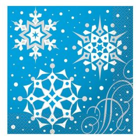 Snowflakes Christmas Party Napkins