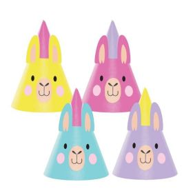 Llama Pastel Party Hats, pk8