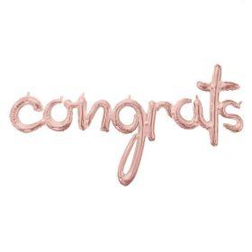 """Congrats Rose Gold Script Phrase Foil Balloon 56"""" x 28"""""""