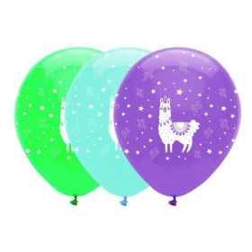 Llama Pastel Party Latex Balloons 12'', pk6