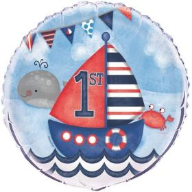 Nautical 1st Birthday Foil Balloon 18""