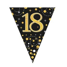 Black & Gold Dots Age 18 Flag Banner 4m