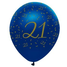 """Navy & Gold Geode Party Age 21 Latex Balloons 12"""", pk6"""