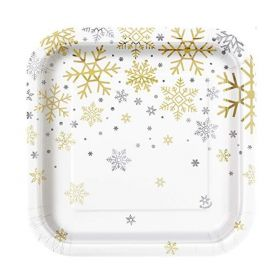 Silver & Gold Snowflakes Party Plates 18cm, pk8