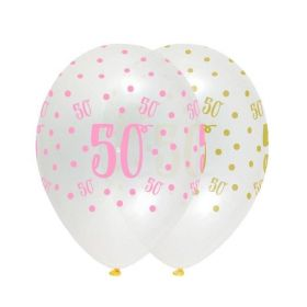 Black and Gold 50th Birthday Party Balloons Pk6
