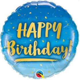 Blue Happy Birthday Foil Balloon 18""
