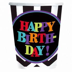 Chevron Happy Birthday Paper Cups 266ml, pk8