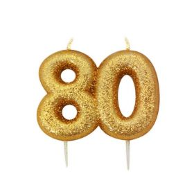 Age 80 Glitter Numeral Moulded Candle Gold