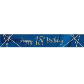 Navy & Gold Geode Party Age 18 Foil Banner 2.74m