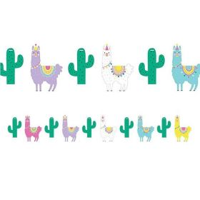 Llama Pastel Party Shaped Banner with Twine 1.8m