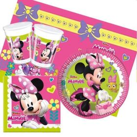 Disney Minnie Mouse Party Pack For 8 Including Tableware And 8 Filled Party Bags