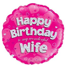 """Pink Happy Birthday My Wife Foil Balloon 18"""""""