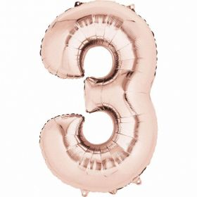 Rose Gold Number 3 SuperShape Foil Balloon