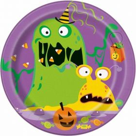 Silly Halloween Monsters Plates 18cm, pk8
