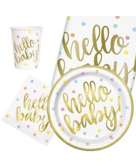 Gold Hello Baby Shower Tableware Party Pack for 8