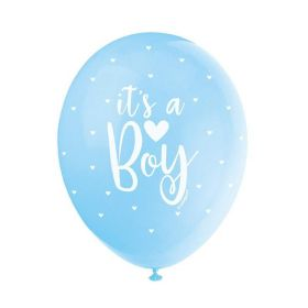 "5 Blue It's a Boy Latex Balloons 12"""