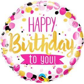 Pink & Gold Happy Birthday To You Foil Balloon 18""