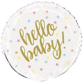 "Gold Hello Baby Shower Foil Balloon 18"""