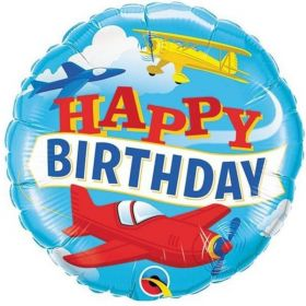 Happy Birthday Airplanes Foil Balloon 18""