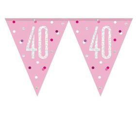 Glitz Pink 40th Birthday Flag Banner 2.74m
