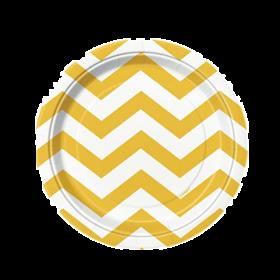 Sunflower Yellow Chevron Dessert Plates