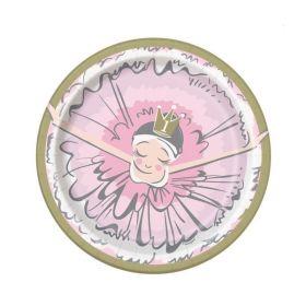 Ballerina Pink & Gold 1st Birthday Party Plates 18cm, pk8