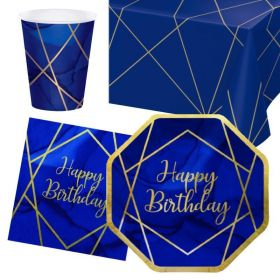 Navy & Gold Geode Party Happy Birthday Tableware Pack for 8