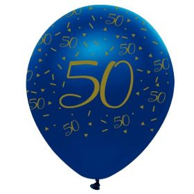 """Navy & Gold Geode Party Age 50 Latex Balloons 12"""", pk6"""