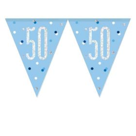 Glitz Blue 50th Birthday Flag Banner 2.74m