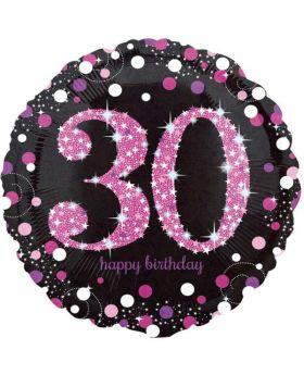 "Pink Sparkling Celebration 30th Birthday Foil Balloon 18"""