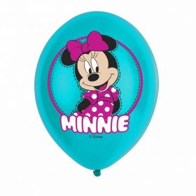 Minnie Mouse 4 Colour Latex Balloons, pk6