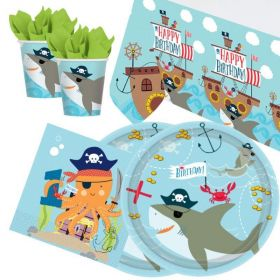 Ahoy 1st Birthday Party Tableware Pack for 16