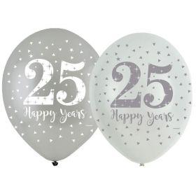 "Silver 25th Anniversary Latex Balloons 11"", pk6"