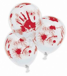 Bloody Hand Printed Latex Balloons 11''/27.5cm