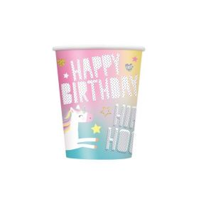 Unicorn Birthday Party Cups 270ml, pk8