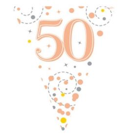 Rose Gold Sparkling Dots 50th Birthday Flag Banner 3.9m