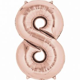 Rose Gold Number 8 SuperShape Foil Balloon