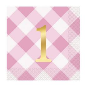 Pink Gingham 1st Birthday Party Napkins