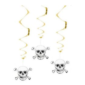 Black & Gold Pirate Party Swirl Decorations 85cm, pk3