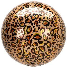 "Animalz Leopard Print Orbz Foil Balloon 16"""