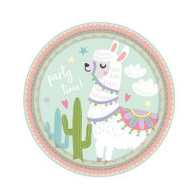Llama Party Time Plates 23cm, pk8
