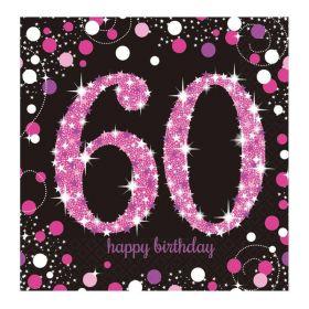 Pink Sparkling Celebration 60th Birthday Luncheon Napkins 33cm x 33cm, pk16