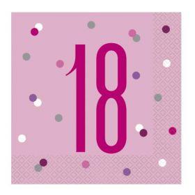 Glitz Pink Age 18 Napkins 33cm x 33cm, pk16