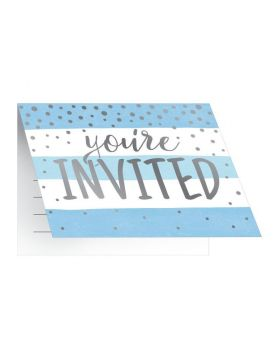 Blue and Silver Baby Shower Party Invitations, pk8