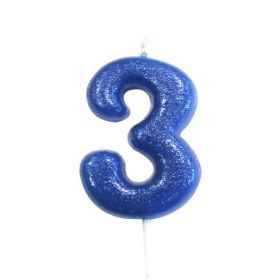 Age 3 Glitter Numeral Moulded Pick Candle Blue